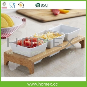 Marketable Bamboo Display Tray / Triple Dish Stand / Serving Platter / HOMEX - BSCI