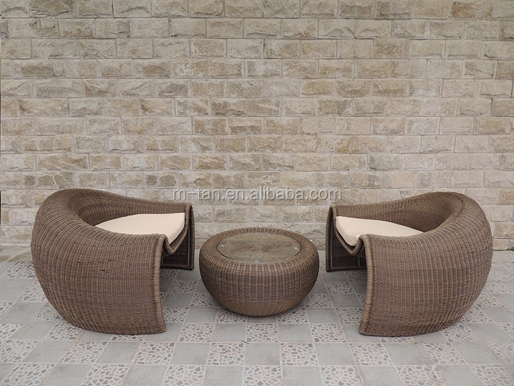 Superior Cheap Special Design Round Pumpkin Egg Shape Outdoor Rattan Sofa With 4 Wicker  Chairs