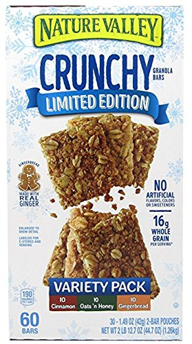 Nature Valley 60 Bars Crunchy Limited Edition Granola Bars, Crunchy, Cinnamon, Oats n Honey, Gingerbread, Variety Pack 30ct 1.49oz each