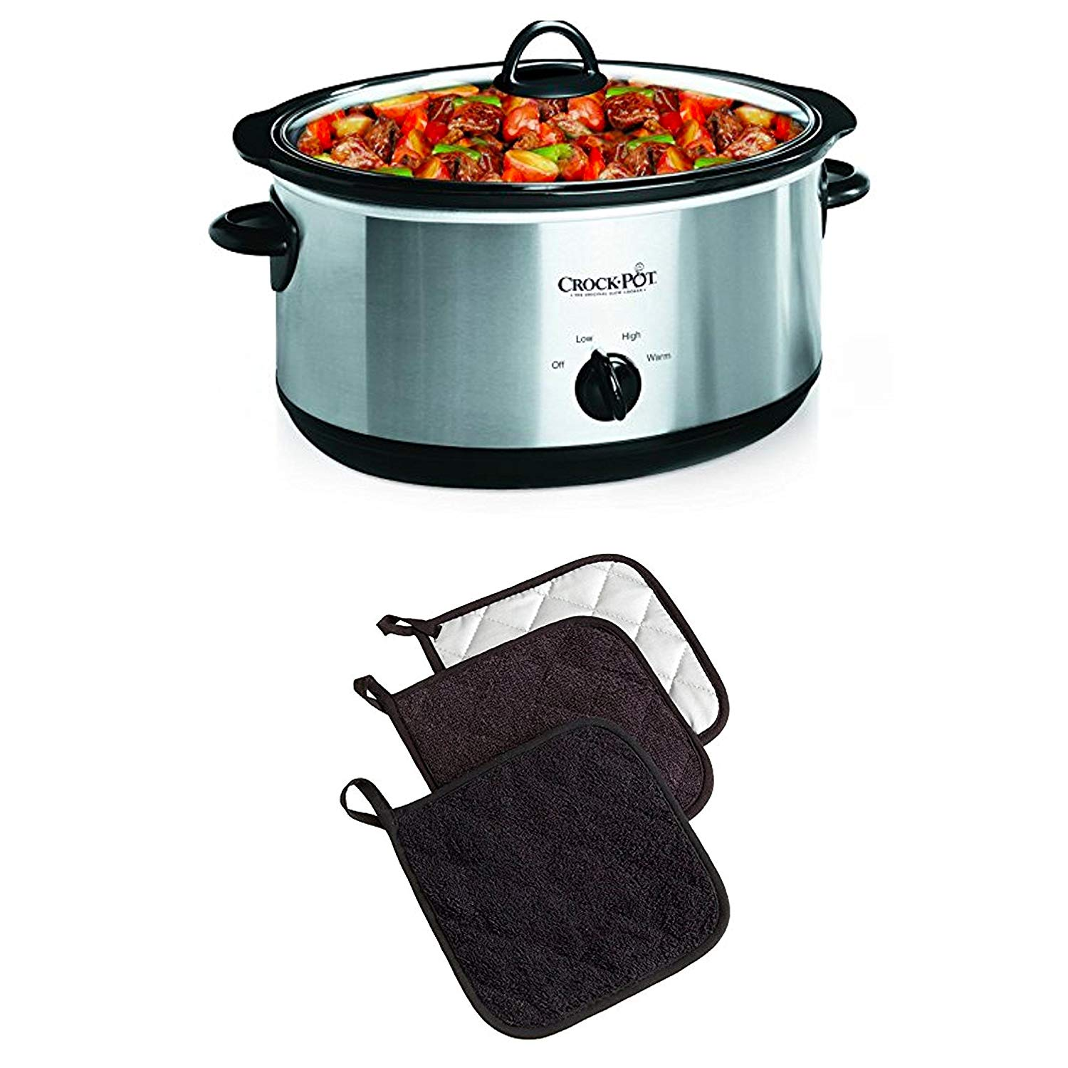 "Bundle Includes 2 Items - Crock-Pot 7-Quart Oval Manual Slow Cooker, Stainless Steel (SCV700SS) and DII Cotton Terry Pot Holders, 7x7"" Set of 3, Heat Resistant and Machine Washable Hot Pads for"