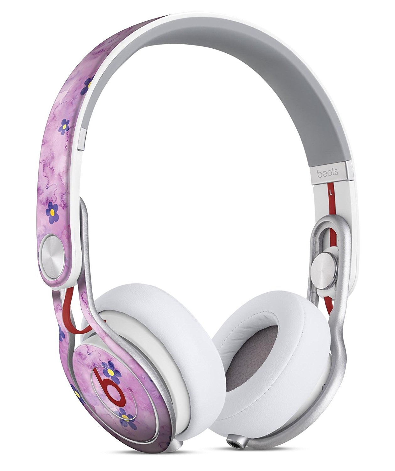 Cute Watercolor Flowers over Purple DesignSkinz Full-Body Skin Kit for the Beats by Dre Mixr Headphones / Ultra-Thin / Matte Finished / Protective Skin Wrap