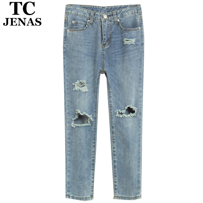 1fce6fa852d Buy TC Women Hole Ripped Jeans Mid Waist Capris Vintage Washed Blue Casual denim  Pants trousers boyfriend harem Jeans WT00180 in Cheap Price on m.alibaba.  ...
