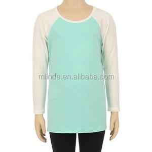 wholesale bulk buy fashion custom kids two tone baseball tee shirt with raglan long sleeve cotton baby clothing