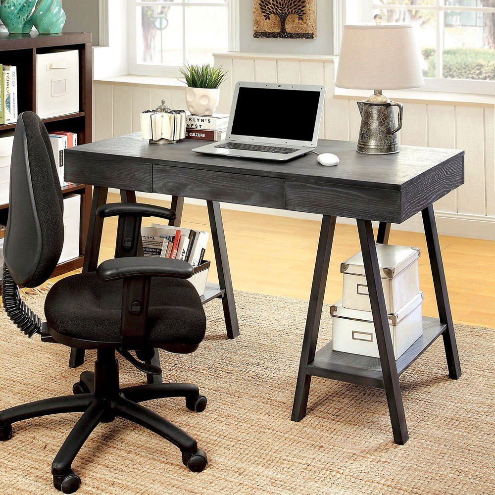 Get Quotations · 1PerfectChoice Surrey Home Office Computer Writing Desk  Wood Bottom Shelves Angled Leg Grey