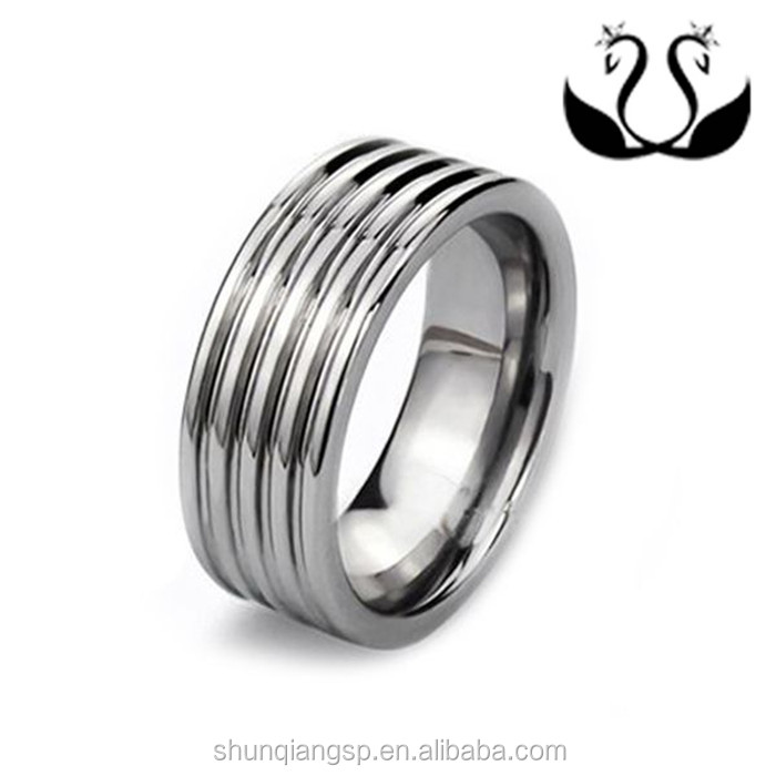 2016 new product 925 silver plated Contracted style Men's stainless steel ribbed ring