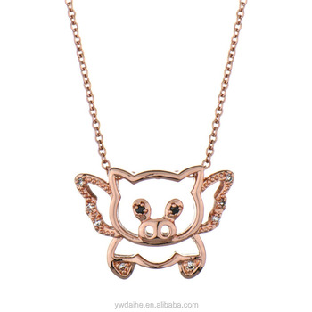 Factory wholesale rose gold diamond flying pig pendant necklace cute factory wholesale rose gold diamond flying pig pendant necklace cute flying pig pendants mozeypictures Gallery