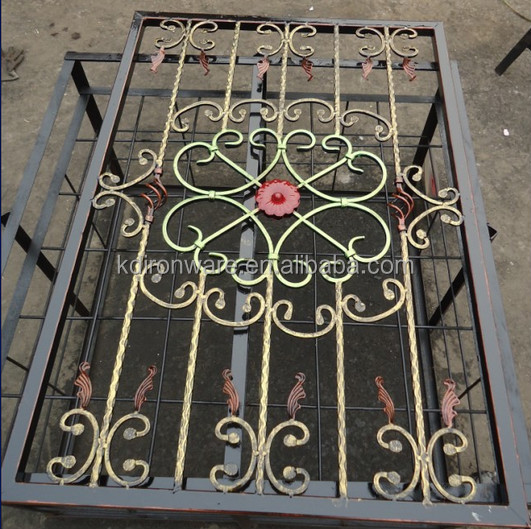 Popular Glass Window Grill Design Wrought Iron