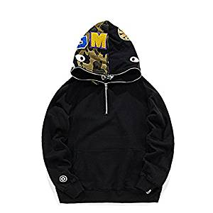 35bc84677402 Get Quotations · ASIAN SIZE 2016 New AW Superbrand Ape Shark WGM Camouflage  Half Zipper Hoodie Black Pullover Zipper