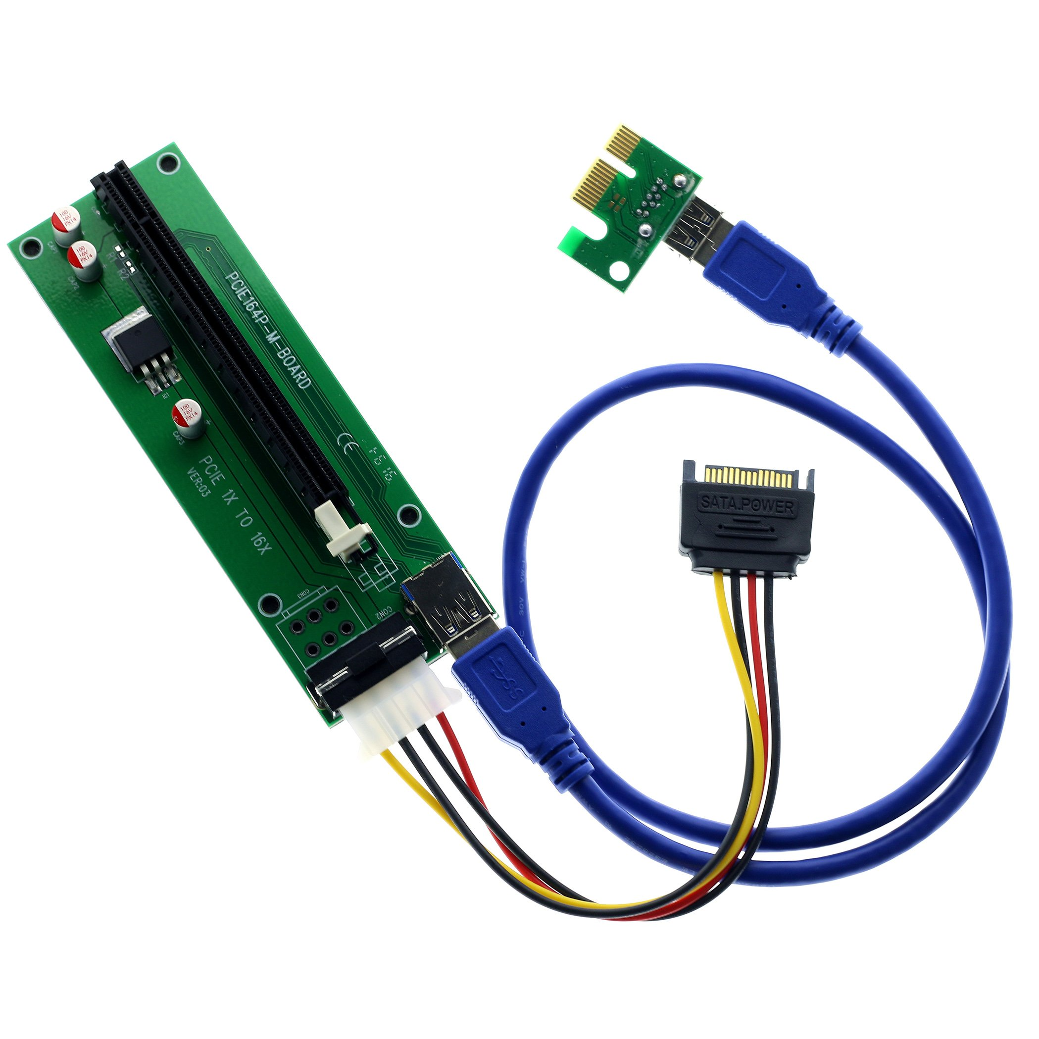 Cheap Pci 32x Riser Adapter With Flex Cable Find E 1x To 16x Extender Card 4 Solid Capacitor Get Quotations Techinthebox Express Powered Usb 30