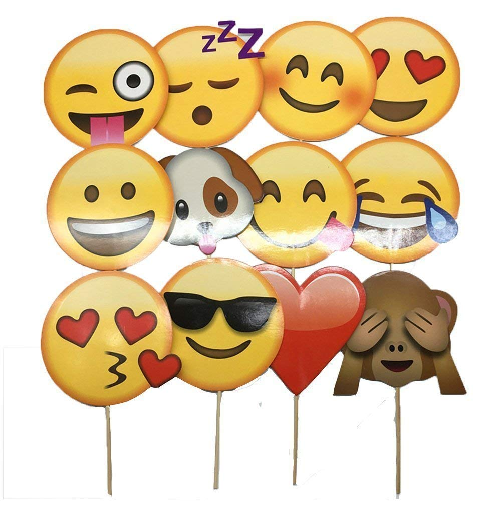Photo Booth Props 12 Pcs Emoji Photo Props Wedding Birthday Carnival Reunions Graduation Holidays Photography Photo Booth Funny Party Favors Party Supplies, 13-15cm/4.7-5.9""