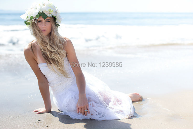 RW014 Sexy Beach Wedding Bridal Gown Boho Bohemian hippie hipster white lace chiffon corset Bride Dress