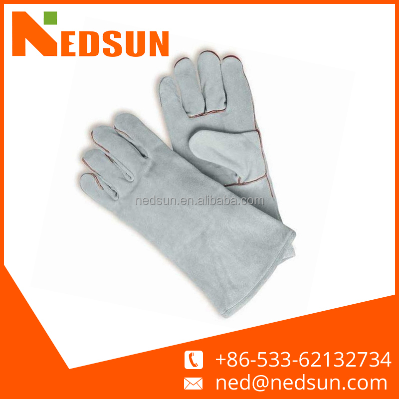 "14"" full lining split gray leather welding gloves"