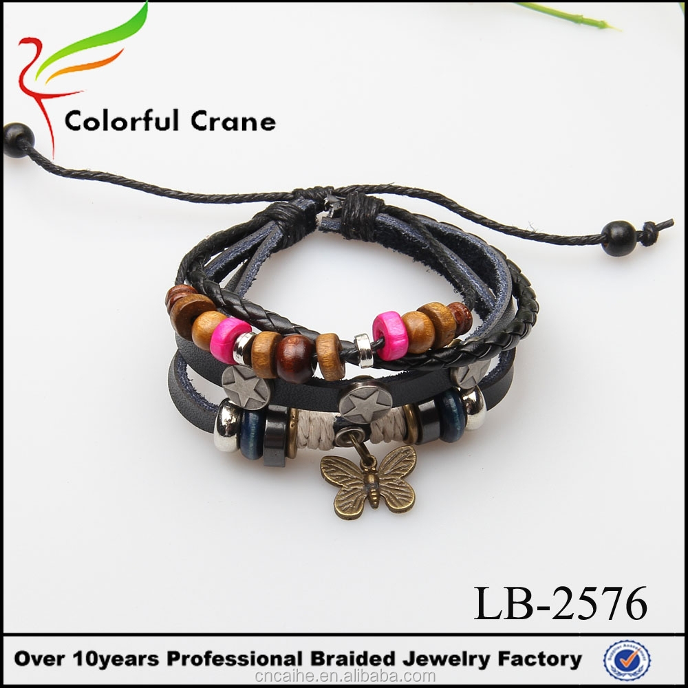Vintage stylish female nice leather jewelry butterfly slave bracelet with wooden beads