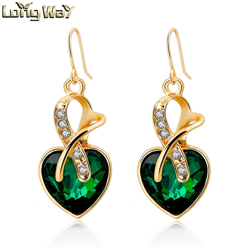 New High Quality Dangle Earring Jewelry with Heart Sharped Austrian Crystal Pendant