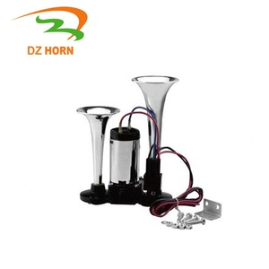 Chrome ABS dual trumpet truck Air Horn with Compressor for Any 12V 24V Vehicles Trucks