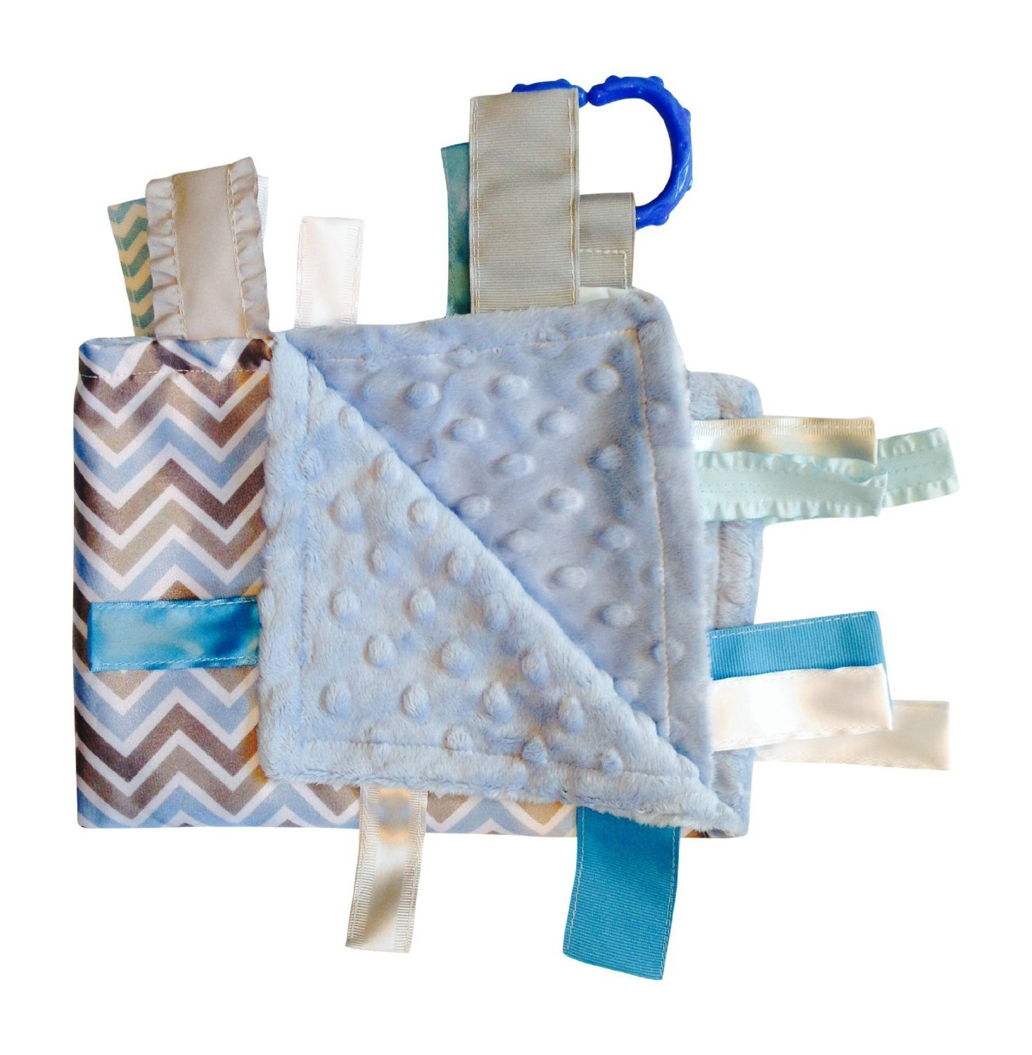 """Sensory Baby Boy Tag Blanket, Blue Gray Chevron, 14"""" X 18"""". For Entertainment, Security, Comfort. Also Used for Special Needs, Autism, Therapy. Ribbons Sewn Shut Into Tabs for Added Security. Made in Usa By Baby Jack Blankets"""