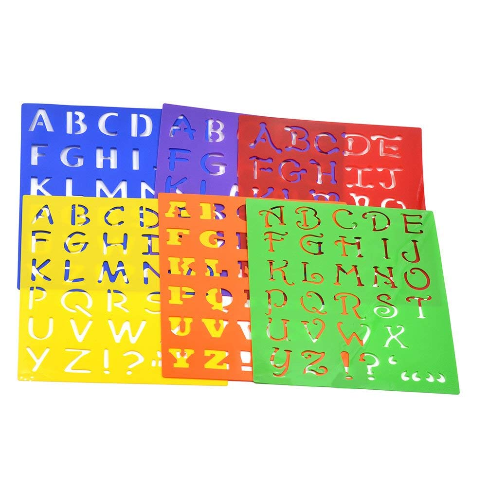 Get quotations · plastic drawing font alphabet stencil letters uppercase lower case craft set