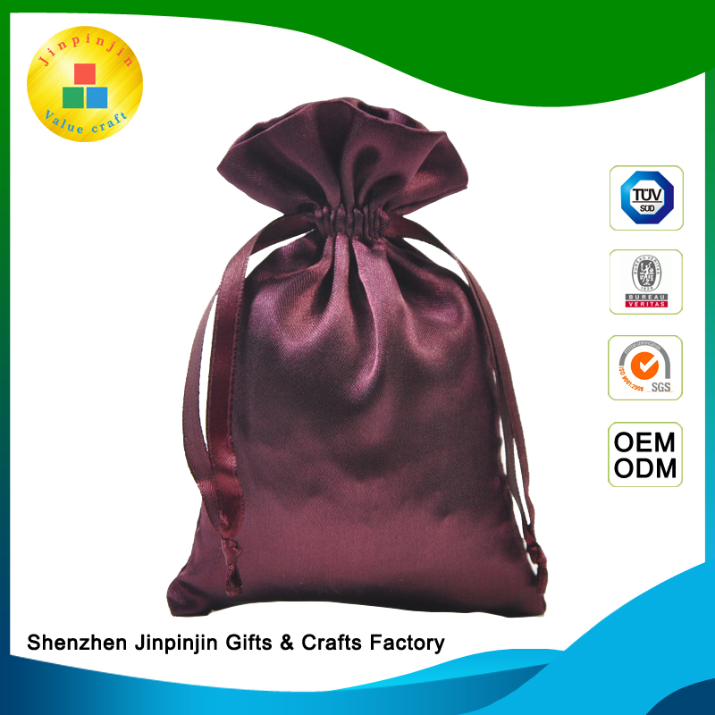 exclusive custom recyclable satin drawstring bag