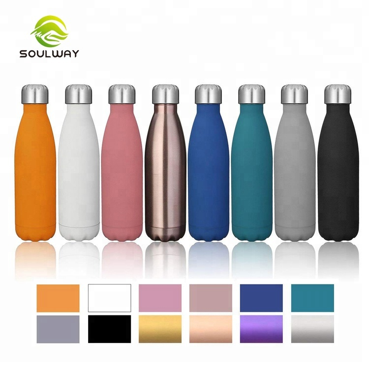 Whole sales 500ml 750ml 1000ml spray paint double wall stainless steel water <strong>bottle</strong>