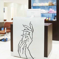 Manicures wall sticker for shop door window glass decoration art vinyl custom sticker beautiful hands wall decals
