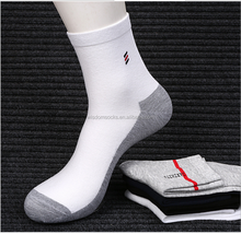 custom sport plain white men crew bamboo socks with logo