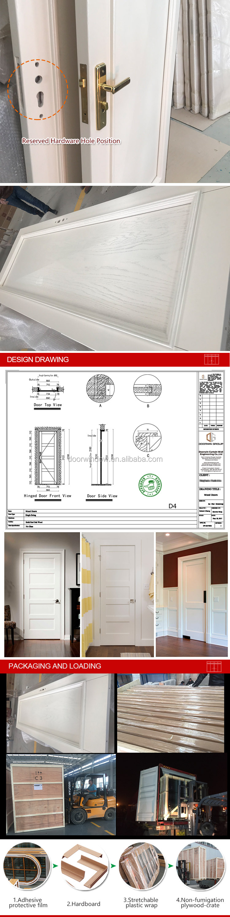 wood veneer MDF board flat panel dressing study room door cheap wooden interior doors