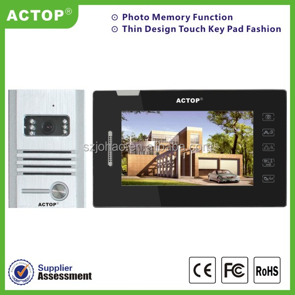 2015New arrival 7inch TFT LCD Screen monitor and night vision outdoor unit video door phone for villa