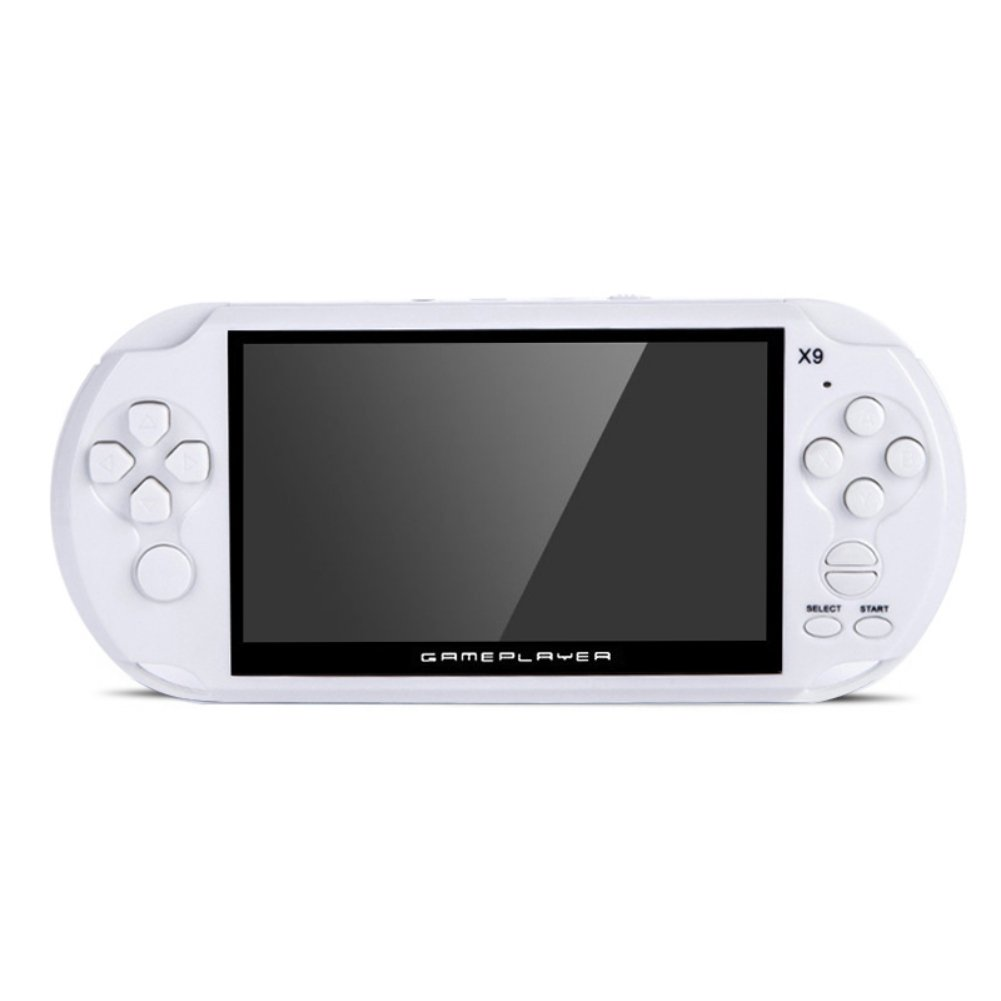 Handheld Retro Game Console,Leezo 1PC X9 Rechargeable 5inch 8G Built-in Game Classic Portable Retro Game Player Support TV Output With MP3 Movie Camera Birthday Gift for Kid - White