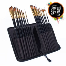 Wholesale private label nylon wood handle art paint brushes set for adults