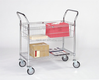 Adjustable File Transport Office Sample Double Hand Trucks Trolley with Basket , NSF Approval