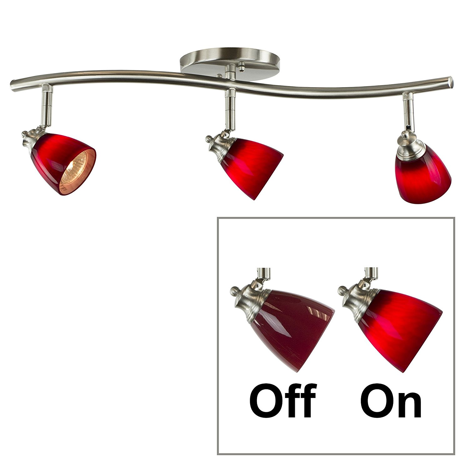 Direct-Lighting 3 Lights Adjustable Track Lighting Kit - Brushed Steel Finish - Red Glass Track Heads - GU10 Bulbs Included. D268-23C-BS-BRED
