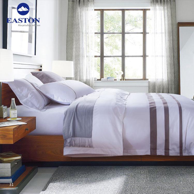 Hôtel qualité plaine blanc 4 pièces ensemble de draps en coton, hôtel reine taille literie en vrac draps de lit à vendre