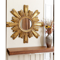 gold color antique sun shaped decorative round wall mirrors