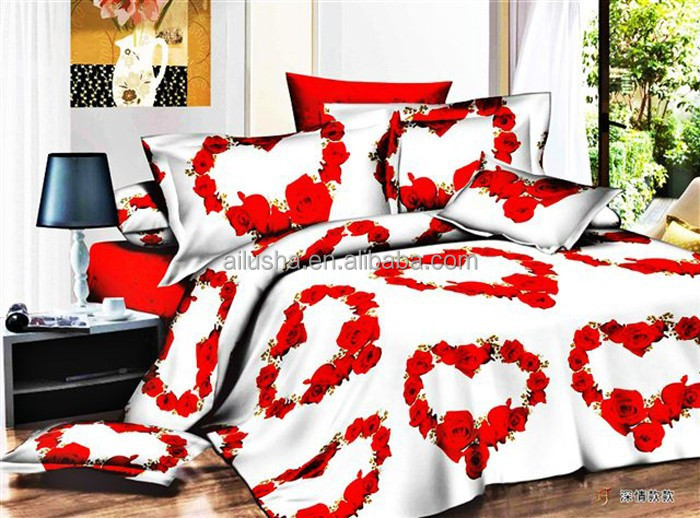 accueil textile 3d coeur rouge imprim double taille personnalis housse de couette ensemble de. Black Bedroom Furniture Sets. Home Design Ideas