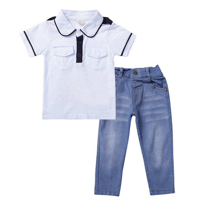 Boys Brand Polo Shirt Summer Kids Clothing Sets For Baby Boy Cotton T-shirt+Jeans Trousers Children Apparel Suits Spring CF175