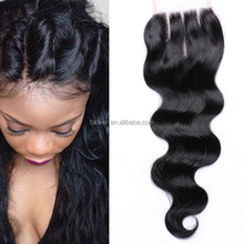 Unprocessed Remy 4x4 Lace Closure Body Wave Three Part Bleached Knots No Tangle No Shedding Free Shipping
