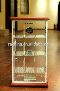 Electric Humidifier Acrylic Cigar Humidor. Acrylic Cabinet And Shelves