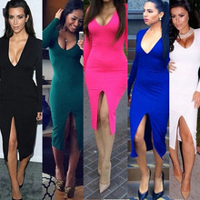 Frauen sommer mode celeb v neck split langarm party abend cocktail kleid