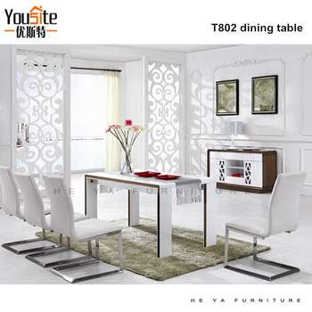 White Melamine Dining Table, Wooden Dining Table With Glass Top Designs