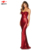 OEM new products red woman sequin sexy party dress strapless long evening dress