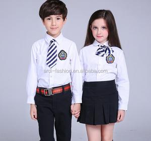 new design long sleeve children boys and girls school uniform shirt