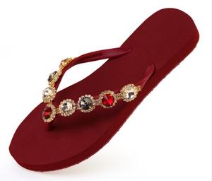 f11e210ce435 Wholesale Women Fancy Flip Flop Slippers Rhinestone Beaded Wedding Flip  Flops
