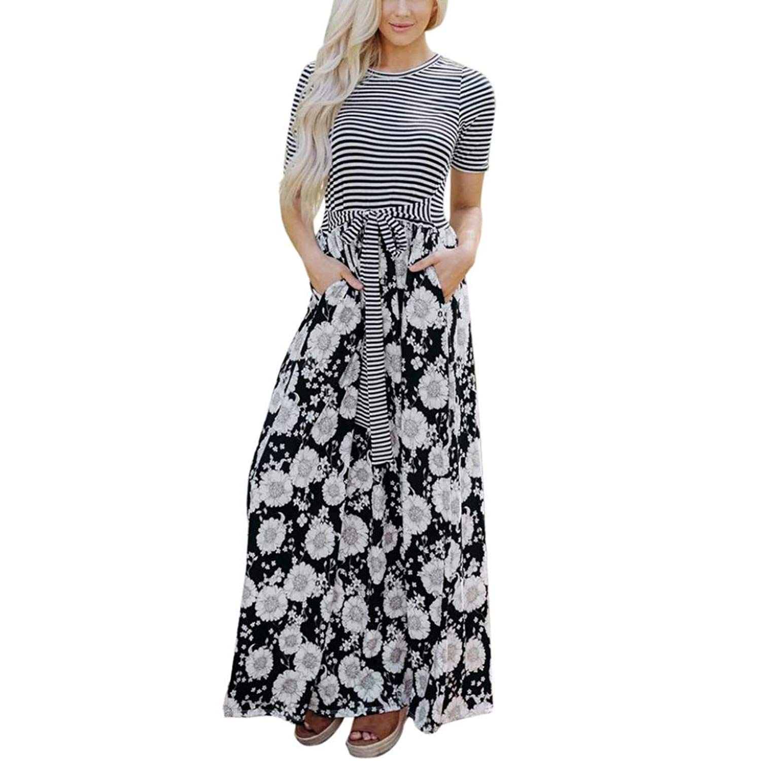 Goodtrade8® Women's Short Sleeve Loose Stripe Maxi Dresses Casual Long Dresses