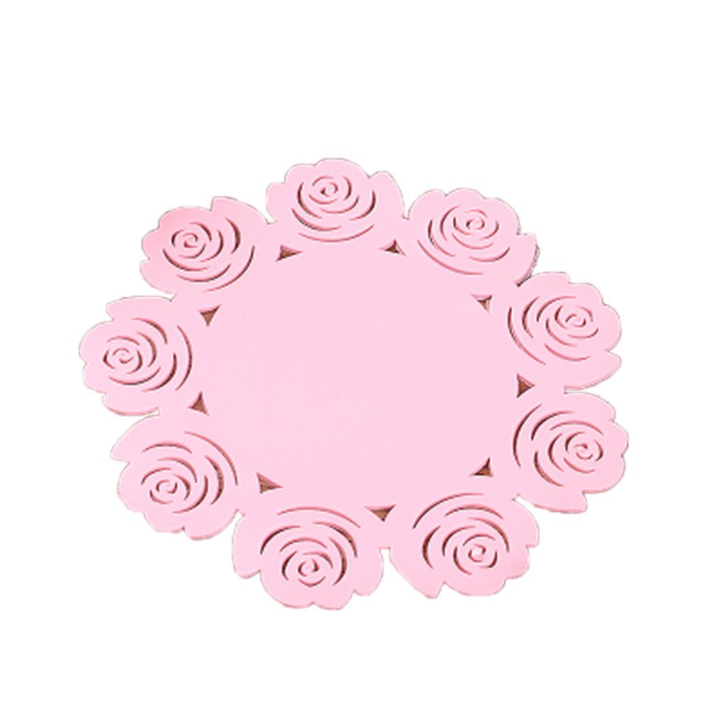 MuLuo Fashion cute thickening silica insulation pad Hollow out the rose bowl pad plate mat cup mat 10cm & pink