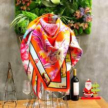 china high quantity twill square double digital printing 100% silk scarf