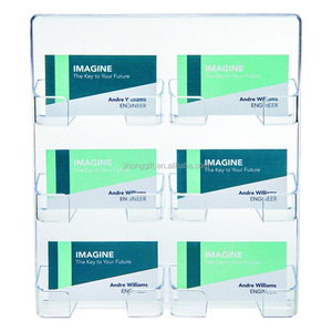 High Quality Modern Design Clear Acrylic 6-Pocket Plastic Wall Mount Briefcase Business Card Holder Stand