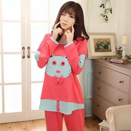 2015 high quality red lady knitted pajamas