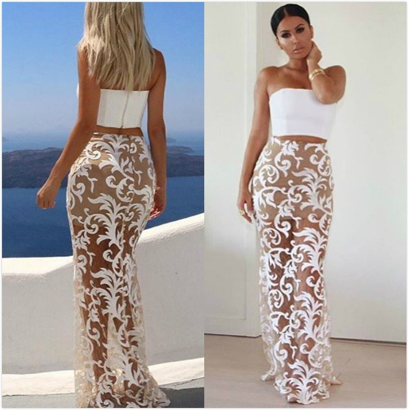 Vvy35 China Wholesale White Lace Flower Maxi Skirt Hot Girls Midi ...