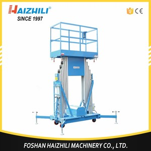 CE hydraulic 10.7m Mobile Double ladder electric platform, aluminum alloy aerial work platform