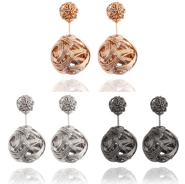 Wholesale <strong>Fashion</strong> Rose Gold And Silver Plated Crystal Women metal Earrings